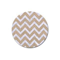 CHEVRON9 WHITE MARBLE & SAND Magnet 3  (Round)