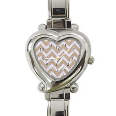 CHEVRON9 WHITE MARBLE & SAND Heart Italian Charm Watch