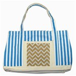 CHEVRON9 WHITE MARBLE & SAND Striped Blue Tote Bag Front