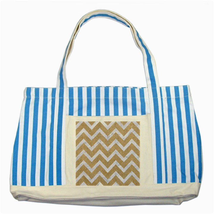 CHEVRON9 WHITE MARBLE & SAND Striped Blue Tote Bag