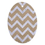 CHEVRON9 WHITE MARBLE & SAND Oval Ornament (Two Sides) Back