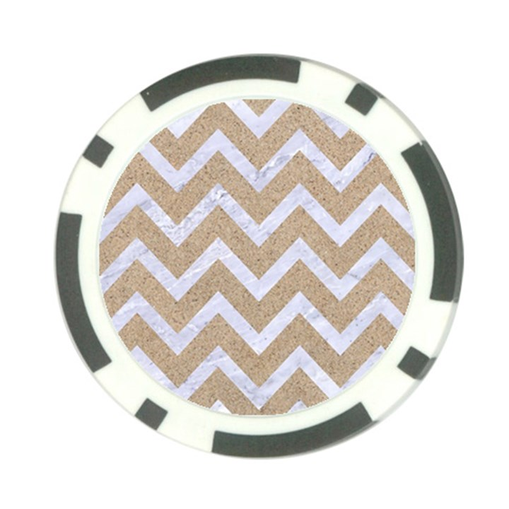 CHEVRON9 WHITE MARBLE & SAND Poker Chip Card Guard