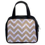 CHEVRON9 WHITE MARBLE & SAND Classic Handbags (2 Sides) Front