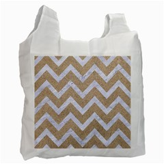 Chevron9 White Marble & Sand Recycle Bag (one Side)