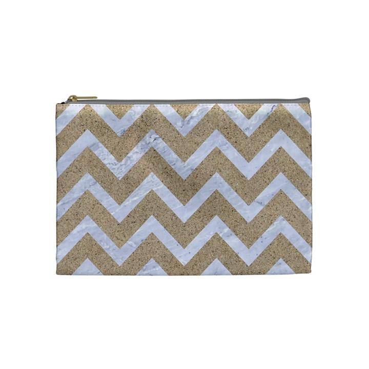 CHEVRON9 WHITE MARBLE & SAND Cosmetic Bag (Medium)