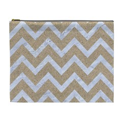 Chevron9 White Marble & Sand Cosmetic Bag (xl)