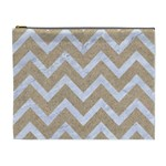 CHEVRON9 WHITE MARBLE & SAND Cosmetic Bag (XL) Front