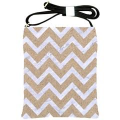 CHEVRON9 WHITE MARBLE & SAND Shoulder Sling Bags