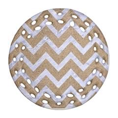CHEVRON9 WHITE MARBLE & SAND Ornament (Round Filigree)
