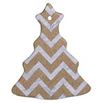 CHEVRON9 WHITE MARBLE & SAND Christmas Tree Ornament (Two Sides) Front