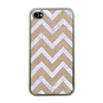 CHEVRON9 WHITE MARBLE & SAND Apple iPhone 4 Case (Clear) Front