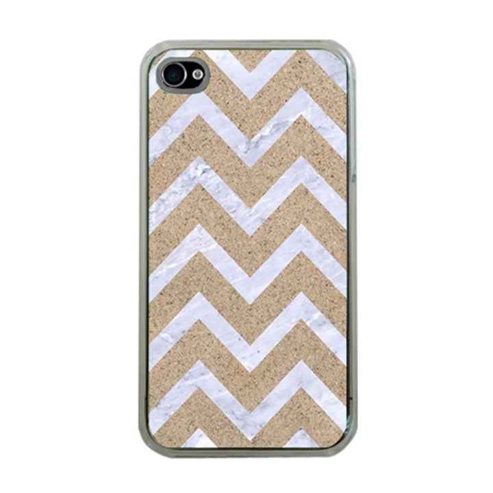 CHEVRON9 WHITE MARBLE & SAND Apple iPhone 4 Case (Clear)