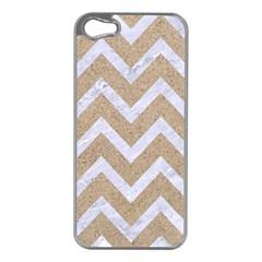Chevron9 White Marble & Sand Apple Iphone 5 Case (silver)