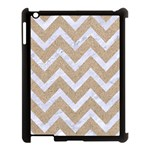 CHEVRON9 WHITE MARBLE & SAND Apple iPad 3/4 Case (Black) Front