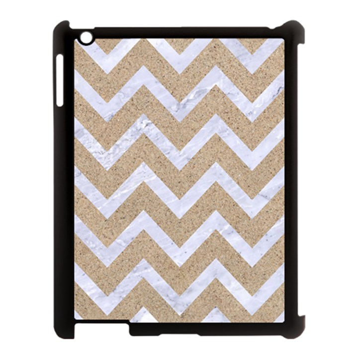 CHEVRON9 WHITE MARBLE & SAND Apple iPad 3/4 Case (Black)