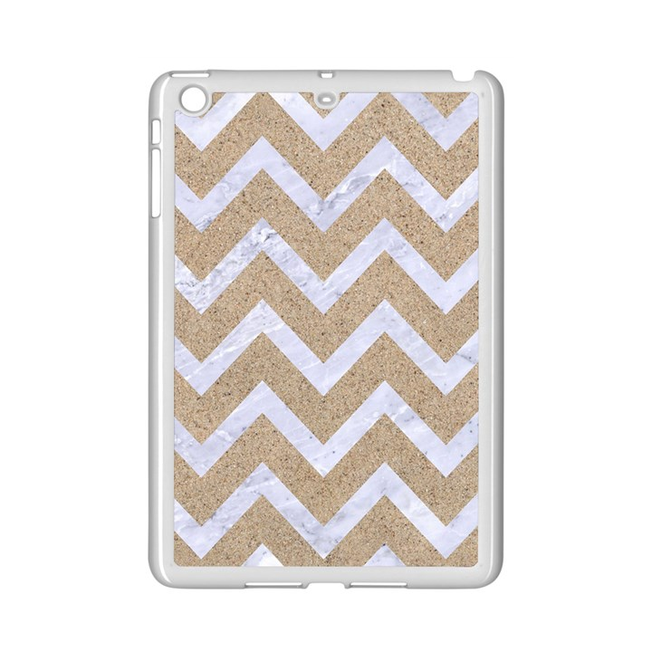 CHEVRON9 WHITE MARBLE & SAND iPad Mini 2 Enamel Coated Cases