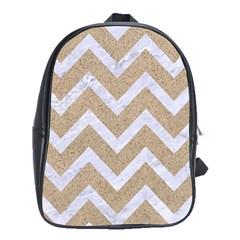 CHEVRON9 WHITE MARBLE & SAND School Bag (XL)