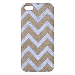 CHEVRON9 WHITE MARBLE & SAND iPhone 5S/ SE Premium Hardshell Case