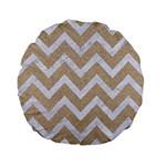 CHEVRON9 WHITE MARBLE & SAND Standard 15  Premium Flano Round Cushions Front