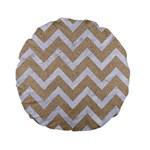 CHEVRON9 WHITE MARBLE & SAND Standard 15  Premium Flano Round Cushions Back
