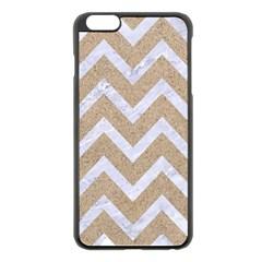CHEVRON9 WHITE MARBLE & SAND Apple iPhone 6 Plus/6S Plus Black Enamel Case