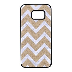 Chevron9 White Marble & Sand Samsung Galaxy S7 Black Seamless Case