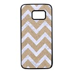 CHEVRON9 WHITE MARBLE & SAND Samsung Galaxy S7 Black Seamless Case Front