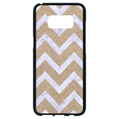 Chevron9 White Marble & Sand Samsung Galaxy S8 Black Seamless Case by trendistuff