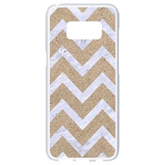 Chevron9 White Marble & Sand Samsung Galaxy S8 White Seamless Case by trendistuff