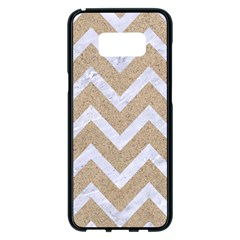 Chevron9 White Marble & Sand Samsung Galaxy S8 Plus Black Seamless Case by trendistuff