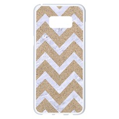 Chevron9 White Marble & Sand Samsung Galaxy S8 Plus White Seamless Case by trendistuff