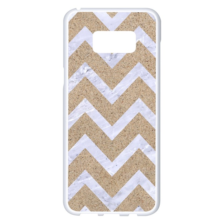 CHEVRON9 WHITE MARBLE & SAND Samsung Galaxy S8 Plus White Seamless Case
