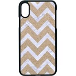 CHEVRON9 WHITE MARBLE & SAND Apple iPhone X Seamless Case (Black) Front
