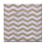 CHEVRON3 WHITE MARBLE & SAND Tile Coasters Front