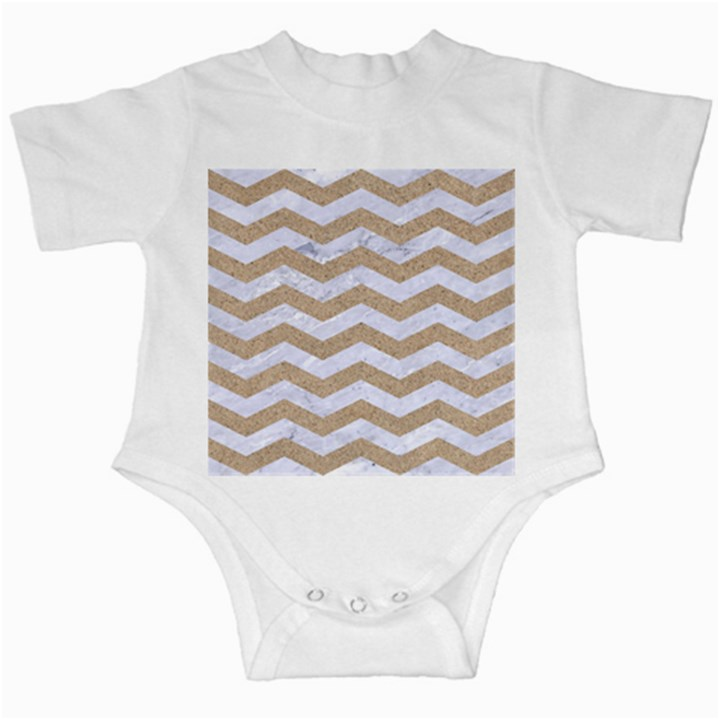 CHEVRON3 WHITE MARBLE & SAND Infant Creepers