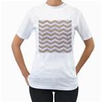 CHEVRON3 WHITE MARBLE & SAND Women s T-Shirt (White) (Two Sided)