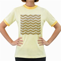 Chevron3 White Marble & Sand Women s Fitted Ringer T Shirts