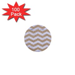 Chevron3 White Marble & Sand 1  Mini Buttons (100 Pack)