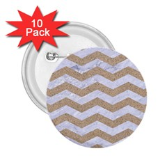Chevron3 White Marble & Sand 2 25  Buttons (10 Pack)  by trendistuff