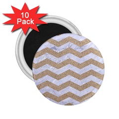 Chevron3 White Marble & Sand 2 25  Magnets (10 Pack)  by trendistuff
