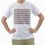CHEVRON3 WHITE MARBLE & SAND Men s T-Shirt (White) (Two Sided)