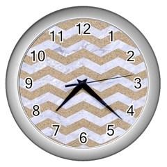 Chevron3 White Marble & Sand Wall Clocks (silver)