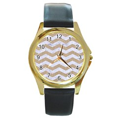 Chevron3 White Marble & Sand Round Gold Metal Watch