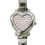 CHEVRON3 WHITE MARBLE & SAND Heart Italian Charm Watch