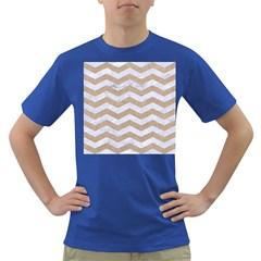 Chevron3 White Marble & Sand Dark T Shirt