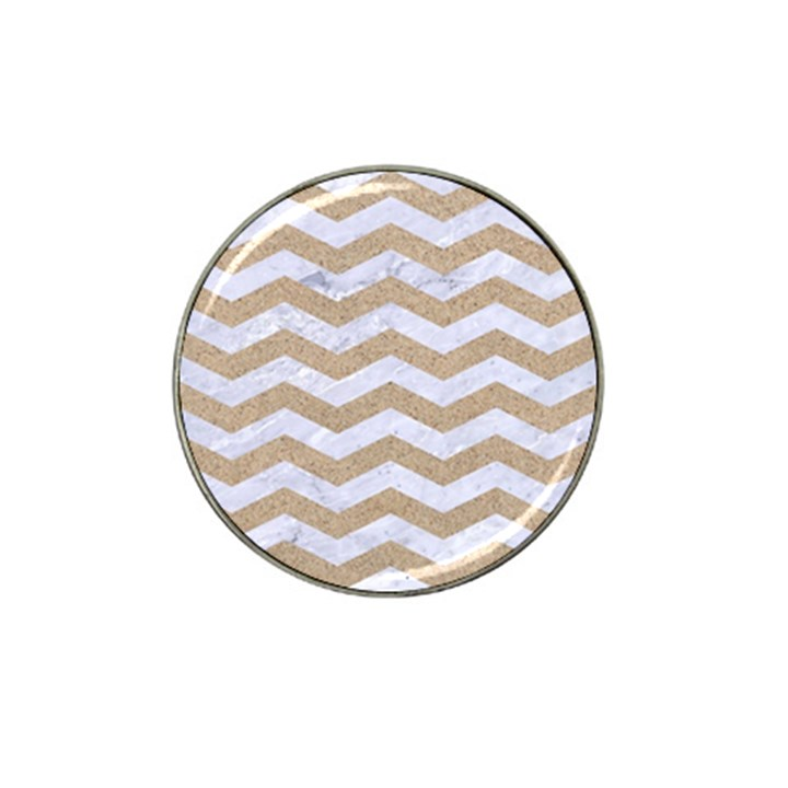 CHEVRON3 WHITE MARBLE & SAND Hat Clip Ball Marker (4 pack)