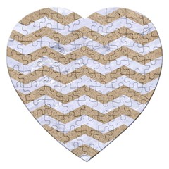 Chevron3 White Marble & Sand Jigsaw Puzzle (heart)
