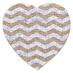 CHEVRON3 WHITE MARBLE & SAND Jigsaw Puzzle (Heart) Front