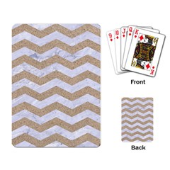 Chevron3 White Marble & Sand Playing Card