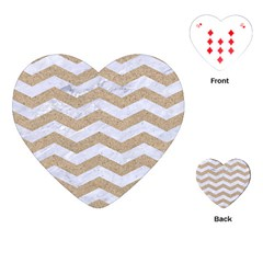 Chevron3 White Marble & Sand Playing Cards (heart)